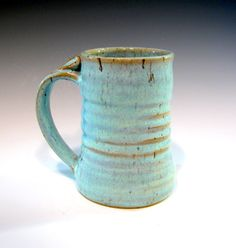 Large Pottery Mug Ceramic Coffee Mug Blue by LaurenBauschOriginal, $21.00