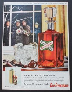 1958 Old Fitzgerald Bourbon Hospitality Decanter by Walter Landor Print Ad