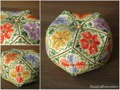 PDF cross stitch pattern: Biscornu 15 faces Spring Melody, banurucotti