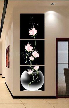 Flowers Blooming in the Vase Printed Wall Art Canvas Paintings - COLORFUL - Decoration Fireplace Garden art ideas Home accessories Canvas Wall Art, Wall Art Prints, Oil Painting On Canvas, 3 Canvas Paintings, Black Painting, Abstract Paintings, Oil Paintings, Wall Design, Wall Art Designs