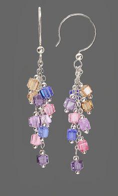 Jewelry Design - Earrings with Colorful Swarovski Crystal Cube Beads - Fire Moun. - Jewelry Design – Earrings with Colorful Swarovski Crystal Cube Beads – Fire Mountain Gems and B - Jewelry Design Earrings, Bead Earrings, Wire Jewelry, Jewelry Crafts, Beaded Jewelry, Jewellery, Jewelry Accessories, Chandelier Earrings, Designer Earrings