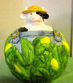 Cookie Jar High Relief Pottery Farmer Cow in the by nolaCENTRIC, $75.00