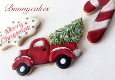 Vintage style sugar cookies with old fashioned red pickup truck and Christmas tree Bunnycakes-December 2016