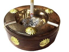 PMK Wooden Round, Antique Ashtray, with Elegant Steel Bowl ashtray ,Thanks Giving or Christmas Gift * Check this awesome image  : Decor Ashtrays