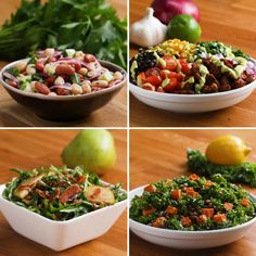 Featuring Tempeh Taco Salad, Roasted Chickpea And Avocado Salad and Three Bean Salad
