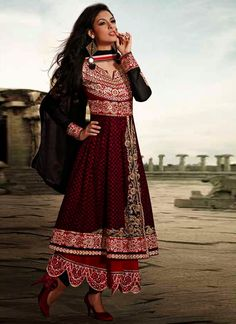Black And Maroon Patch Border Work Faux Georgette Designer Anarkali Suit, Product Code :6574, shop now http://www.sareesaga.com/glorious-black-and-maroon-patch-border-work-faux-georgette-designer-anarkali-suit-6574  Email :support@sareesaga.com What's App or Call : +91-9825192886