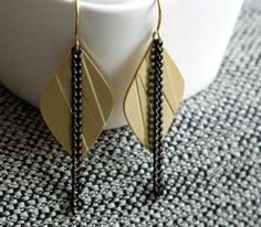 Gold Modern Earrings Black chain lozenge pendant Modern Geometric Jewelry