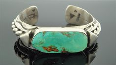 Sterling silver cuff with natural Pilot Mountain turquoise. By Navajo artist…