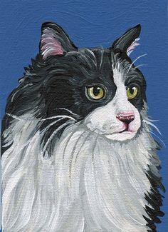 ACEO OOAK Original Canvas Magnet Tuxedo Cat Art-Carla Smale via Etsy