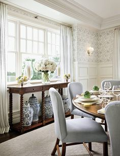 Dining room dreaming - Beautiful dining room designed by Alexa Hampton in Architectural Digest