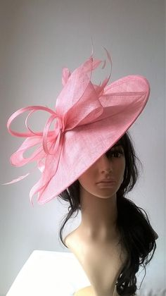 eab957ce45c11 Girly Pink large Hatinator Sinamay and feathers on a
