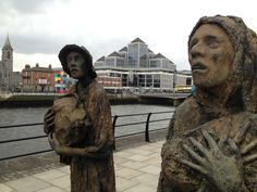 Famine memorial and the headquarters of Ulster Bank.