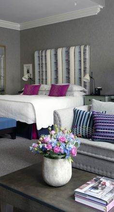 Knightsbridge Hotel - London, United Kingdom. Located on a quiet, leafy street in central London, just a hop from Harrods, the discreet Knightsbridge Hotel welcomes guests with a tasteful blend of colour, statement furniture, and unique art, all thanks to Kit Kemp's whimsical sense of style and knack for layered, luxurious interiors.