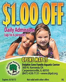 Dolphin Cove Family Aquatic Center Coupon Great coupons for fun in the Chicago Area for the whole family