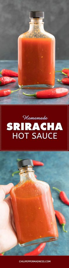 Homemade Sriracha Hot Sauce Recipe - Learn how to make classic Sriracha hot sauce at home, either with fresh or fermented chili peppers. It's so easy and tastes better than anything from the grocer.