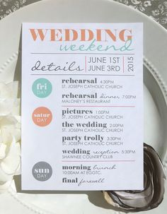 Check out this item in my Etsy shop https://www.etsy.com/listing/225130675/printable-wedding-itineraries-the-cool