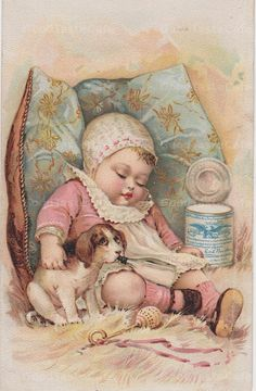 antique  and vintage .victorian cards | Digital Scan Antique Victorian Baby & Puppy Digital Download Collage ...