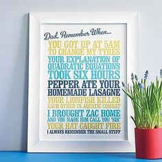 Personalised 'Remember When' Print - best father's day gifts