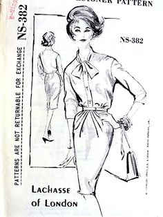1960s ELEGANT Lachasse Go Any Where Dress Pattern SPADEA Designer NS-382 Slim Dress Day Into Cocktail Hour Bust 34 Vintage Sewing Pattern FACTORY FOLDED