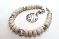 Weight Watchers Tracking Charm Bracelet...cream colored beads lotus charm