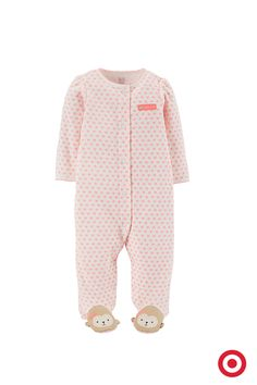Keep her comfy and cozy during playtime and nap time with this monkey sleep 'n play from Just One You made by Carter's. It features a delicate pink flower print with sweet little monkey face footies. So sweet!