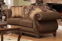 Lambeth II Elegant Chenille Wood Fabric Loveseat