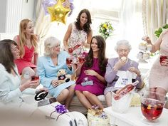 "Spoof image of Kate's ""baby shower""...love the ""Born to Rule"" onesie and hope someone actually gets that for her.  Is that really Camilla next to ""Kate""????"
