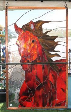 source/artist anyone? Flaming horse from Heaven Stained Glass Birds, Stained Glass Suncatchers, Stained Glass Designs, Stained Glass Panels, Stained Glass Projects, Stained Glass Patterns, Mosaic Art, Mosaic Glass, Animal Original