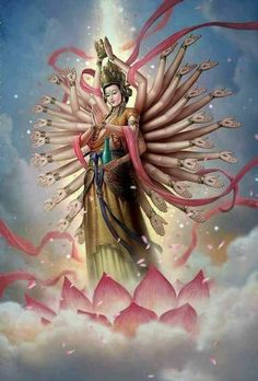 Hail Kanzeon, the Divine Mother and Goddess of Compassion. The Universe is our mother. She provides and protects, guides and heals, destroys all obstacles. Trust the Divine Mother, the feminine personification of Buddha and our True Self. Buddha Buddhism, Buddha Art, Tibetan Buddhism, Lord Vishnu Wallpapers, Krishna Art, Hindu Art, Guanyin, Paperclay, Visionary Art