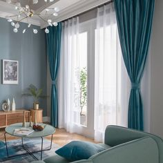 Blue Curtains Living Room, Teal Curtains, Home Curtains, Curtains For Grey Walls, Colorful Curtains, Window Curtains, Living Room Modern, Living Room Designs, Rideaux Design