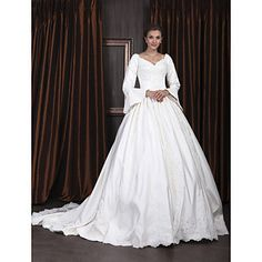 Ball Gown V-neck Long Sleeve Satin Luxury Wedding Dress With Beaded Appliques  – USD $ 347.99 Jane Eyre, anyone?