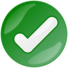 Botón de verificación, aprobación. Color verde.