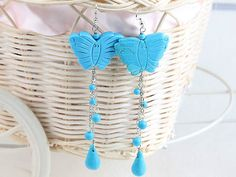 Lovely Blue Butterfly Round Teardrop Turquoise Earrings