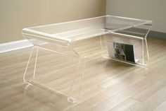 "Baxton Studio Annis 15-1/2H x 39""W x 17""D Acrylic Living Room Coffee Table - Clear"