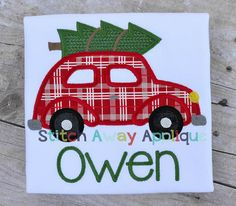 Car with Christmas Tree Machine Applique by StitchAwayApplique