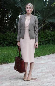 Pastel Pink Wrap Dress, Ann Taylor blazer, business casual, business formal