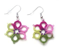 Spring Garden Tatted Earrings, Tatted Flower Earrings, Tatted from Vintage Pattern, Vintage Inspired Earrings, Modern Victorian Earrings Tatting Earrings, Tatting Jewelry, Lace Earrings, Lace Jewelry, Flower Earrings, Crochet Earrings, Needle Tatting, Tatting Lace, Pearl And Lace