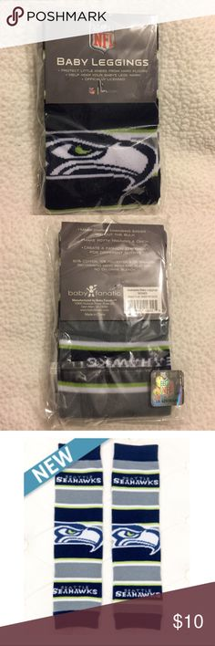 Seattle Seahawks baby leggings ***Brand new in package***  ~Material: 80% cotton, 15% polyester, 5% spandex ~Size: One size fits most  Great as leg warmers for infants, toddlers and young children. Perfect 👌🏽 to protect babies legs while crawling. baby leggings Bottoms Leggings