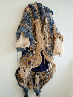 Freeform crochet and knit jacket