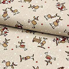 Stoff Meterware Dekostoff Weihnachten lustige Elche und Weihnachtsmänner in leinenoptik -  - 5.0 von 5 Sternen - DIY Stoffe und so Floral Tie, Alexander Mcqueen Scarf, Funny Moose, Santa Clause, Fabrics, Christmas