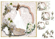 A beautiful bride on a flowers embossed background. In the front are gorgeous glittery shoes with delicate white flowers. This mini kit has 6 sheets including blank inserts and a gift tag. Wedding Shoes, Wedding Day, Wedding Cake Prices, Printable Crafts, Card Designs, Beautiful Bride, White Flowers, Gift Tags, Card Making