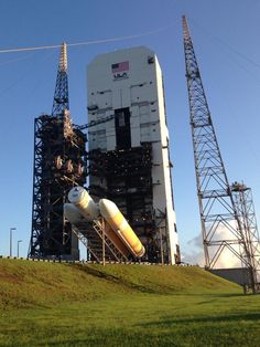 A United Launch Alliance Delta 4 Heavy rocket is lifted to the vertical position on a launch pad at NASA's Kennedy Space Center on Oct. 1, 2014. The rocket will launch NASA's new Orion spacecraft on its first test flight on Dec. 4, 2014.