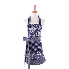 c1169d6c085 New Fashion Women s Kitchen Fashion Flirty Apron With Big Pockets Blue  Fy0006