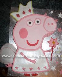 Homemade Peppa Pig Cake: I made this Peppa Pig Cake for my daughter's 3rd birthday because she loves Peppa Pig. I drew a template for the cake and traced the component parts onto
