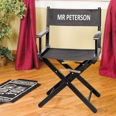 """What a great way to re-purpose a """"director's style"""" chair that I found on the curb.  Some black spray paint and some black dye.  Voila'"""
