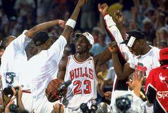 Michael Jordan celebrates the Bulls