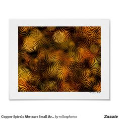 Copper Spirals Abstract Small Art Poster Print