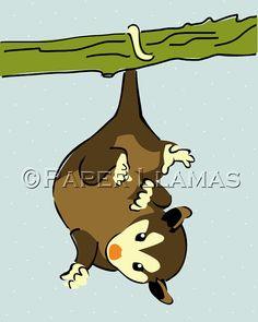 woodland nursery art illustration kids childrens  forest art print for boys girls -  possum opossum retro art print