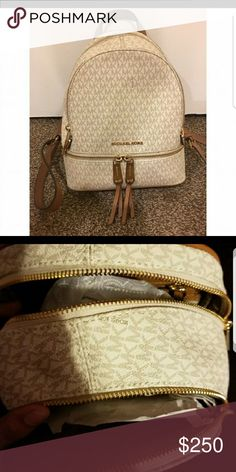 8684d7e4dc0c05 Selling this Michael Kors Vanilla Backpack on Poshmark! My username is:  reinacloset.