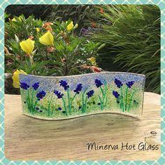 Flor de Bluebell vitrofusión vidrio curva arte en vidrio